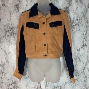 BCBG Denim Corduroy Patch Jean Jacket Button Front